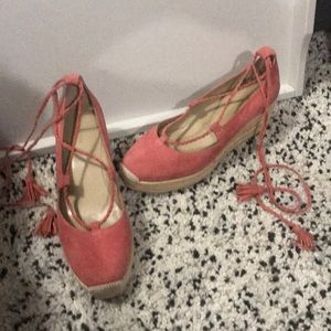 Women's Ann Taylor suede wedge lace up shoes